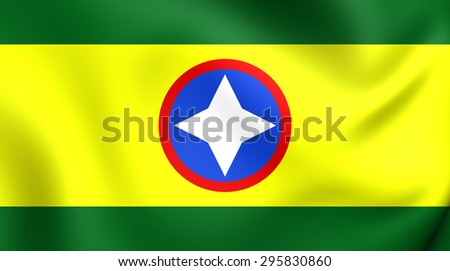 3D Flag of the Bucaramanga, Colombia. Close Up.    - stock photo