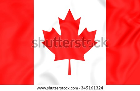 3D Flag of the Canada.   - stock photo