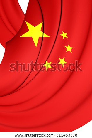 3D Flag of the China. Close Up.