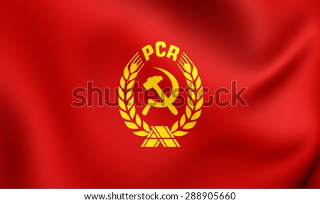 3D Flag of the Communist Party of Romania (PCR). Close Up.   - stock photo