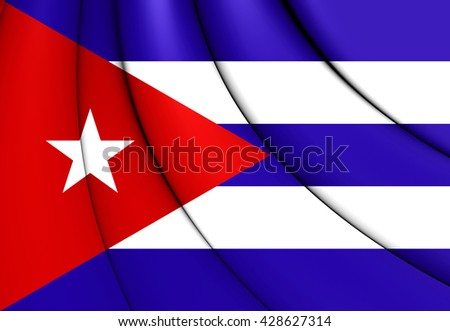 3D Flag of the Cuba. Close Up.   - stock photo