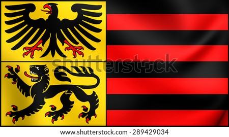 3D Flag of the Duren City, Germany. Close Up. - stock photo
