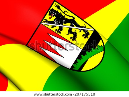3D Flag of the Hassberge, Germany. Close Up. - stock photo