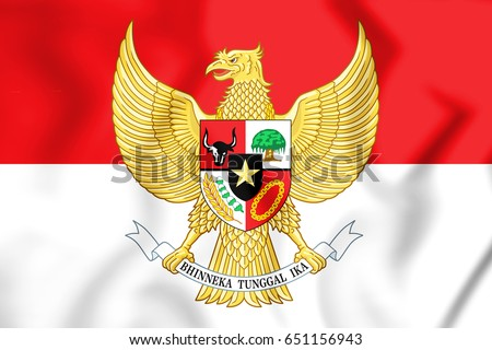 3D Flag of the Indonesia. 3D Illustration.