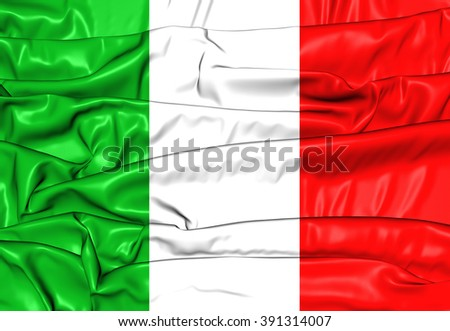 3D Flag of the Italy. Close Up.