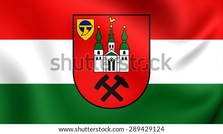 3D Flag of the Kamp-Lintfort, Germany. Close Up.    - stock photo
