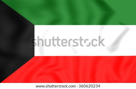 3D Flag of the Kuwait. Close Up.    - stock photo