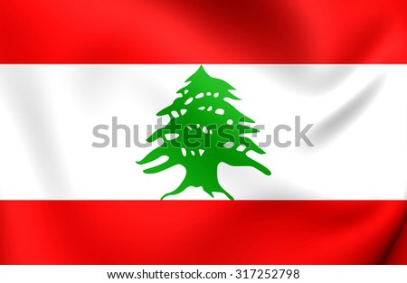 3D Flag of the Lebanon. Close Up.