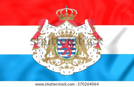 3D Flag of the Luxembourg. Close Up.