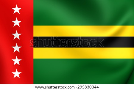 3D Flag of the Santander Department, Colombia. Close Up.    - stock photo