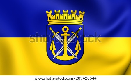 3D Flag of the Solingen, Germany. Close Up.    - stock photo