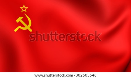 3D Flag of the Soviet Union. Close Up. - stock photo