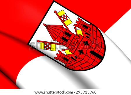 3D Flag of the Unna City, Germany. Close Up.    - stock photo