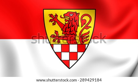 3D Flag of the Unna Kreis, Germany. Close Up.    - stock photo