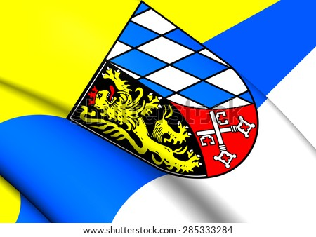 3D Flag of the Upper Palatinate, Germany. Close Up. - stock photo