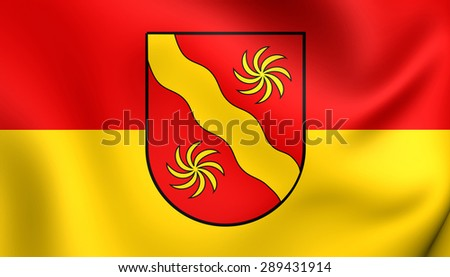 3D Flag of the Warendorf Kreis, Germany. Close Up.    - stock photo