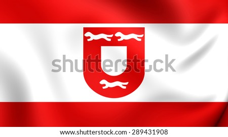 3D Flag of the Wesel City, Germany. Close Up.    - stock photo