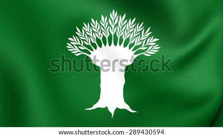 3D Flag of the Wesel Kreis, Germany. Close Up.    - stock photo
