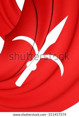 3D Flag of Trieste City, Italy. Close Up.    - stock photo