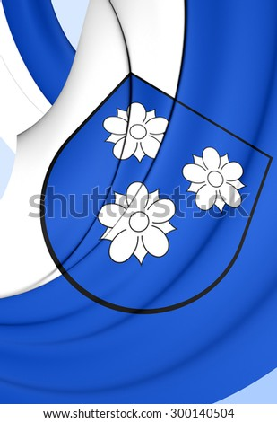 3D Flag of Viersen City, Germany. Close Up.    - stock photo