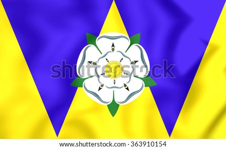 3D Flag of West Yorkshire, England. Close Up.    - stock photo