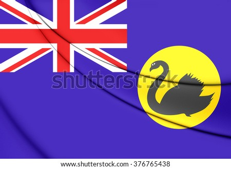 3D Flag of Western Australia. Close Up. - stock photo