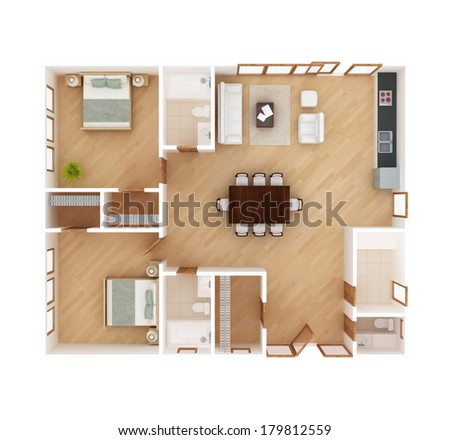 3d Floor Plan Top View House Stock Illustration 179812559