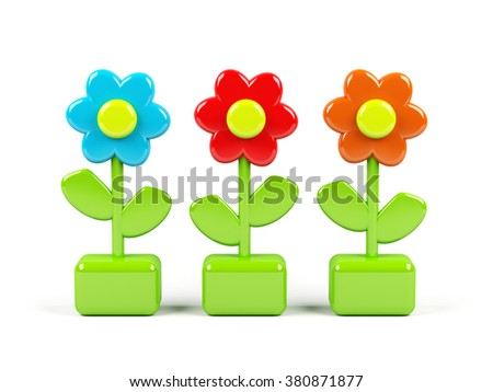 3d flowers isolated on white