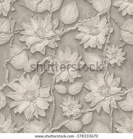 3d flowers, seamless - stock photo