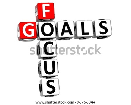 3D Focus Goals Crossword cube words on white background - stock photo
