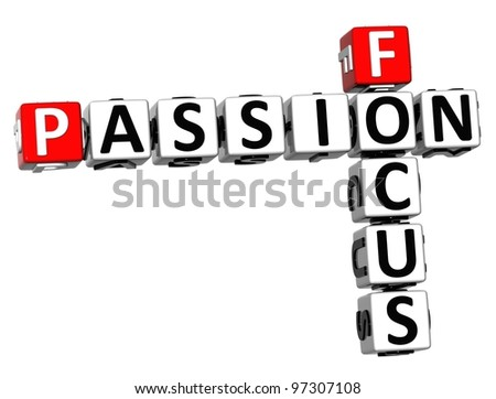 3D Focus Passion Crossword text on white backgound - stock photo