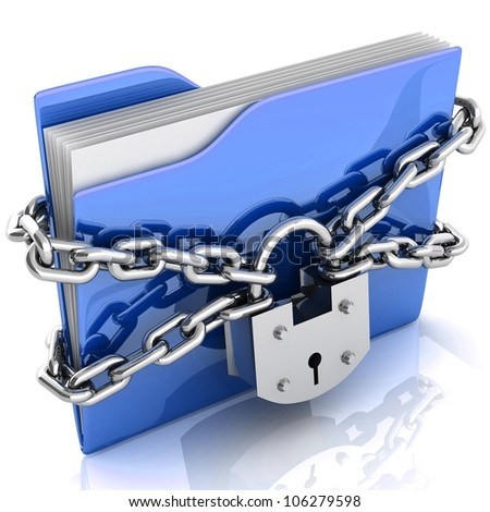 3D folder locked by chains isolated over white. - stock photo