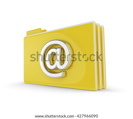 3d folders with email symbol isolated over white background - stock photo