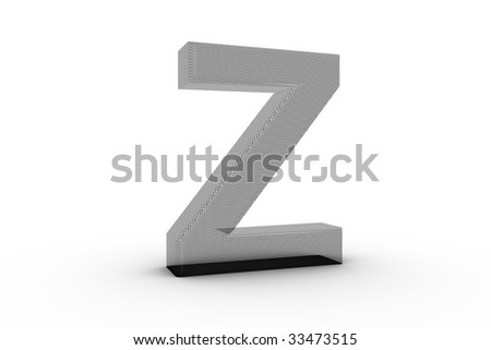 3D Font Alphabet Letter Z in wire mesh texture on white Back Drop
