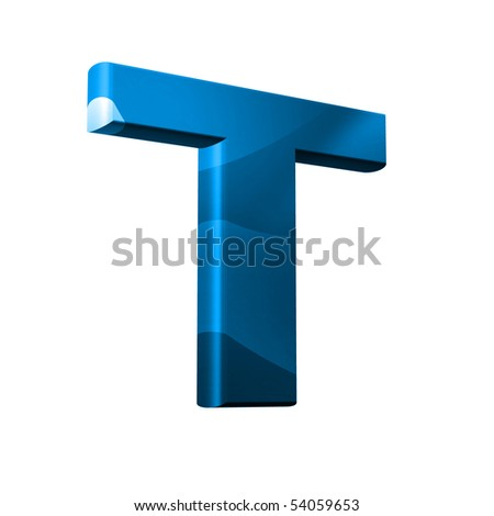 3D font with abstract BLUE texture - T