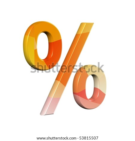 3D font with abstract orange texture - % (percentage sign)