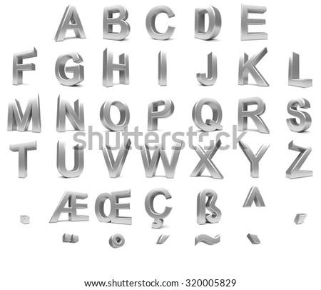 Big Silver Letters 3D Font Big Silver Letters Standing Stock Illustration 320005829