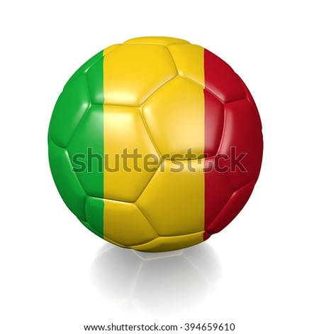 3D football soccer ball colored with the flag of Mali isolated on a white background - stock photo