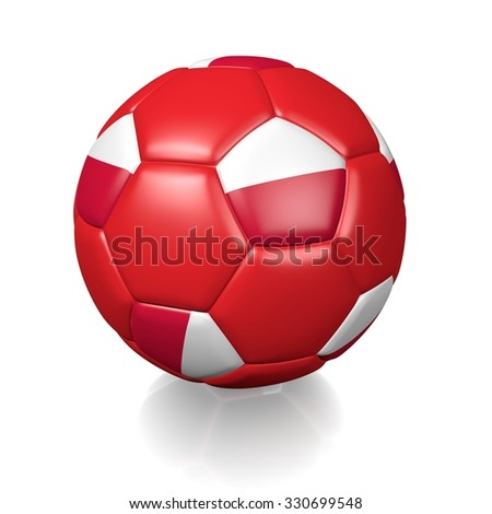 3D football soccer ball with the flag of Poland, isolated on white background.