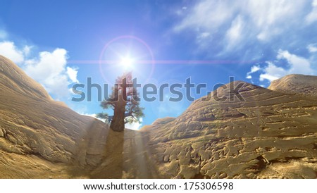 3D for the Grand canyon national park on the blue sky - stock photo