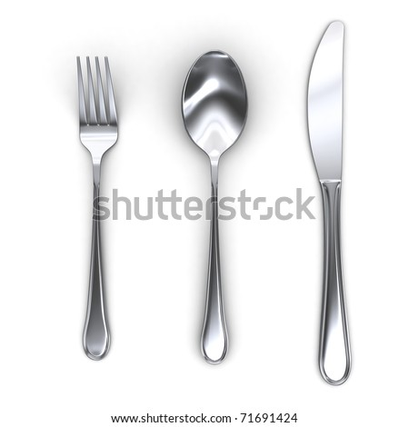 3d fork spoon and knife isolated on white background
