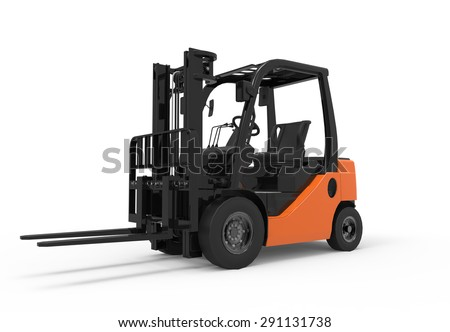 3D forklift truck isolated on a white background - stock photo