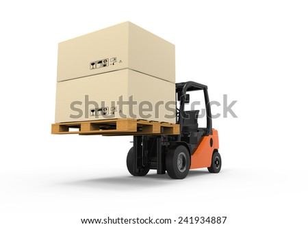 3D Forklift truck with boxes on pallet