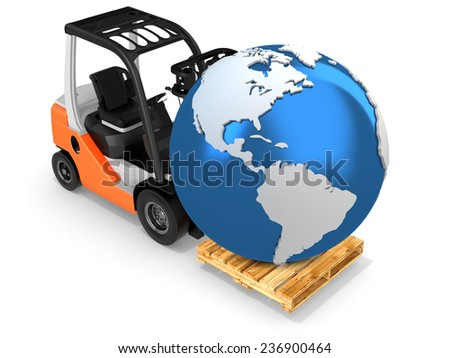 3d forklift with earth globe on white background - stock photo