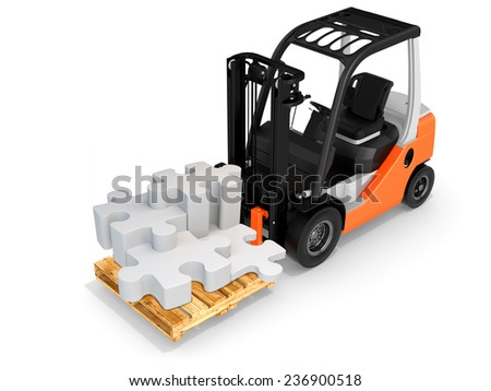 3d forklift with puzzle pieces on white background - stock photo