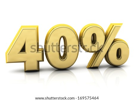 3d forty percent gold   - stock photo