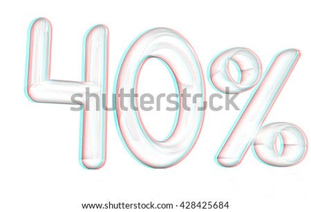 "3d ""40"" - forty percent on a white background. Pencil drawing. 3D illustration. Anaglyph. View with red/cyan glasses to see in 3D. - stock photo"