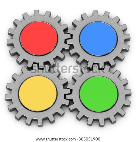 3d four gears on a white background - stock photo