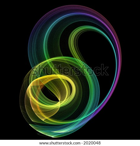 3D Fractal Abstract Design - 3D abstract render in brilliant rainbow colors on  black background. - stock photo
