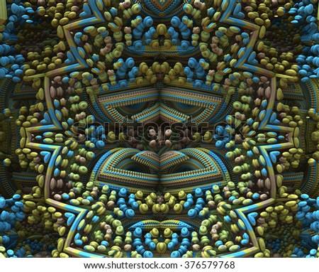 3D fractal ornament, design element, symmetry, muted colors - stock photo